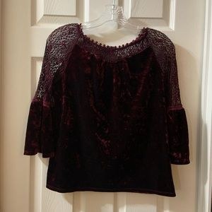 By By Girls Maroon velvet  Bell sleeve Top size XL